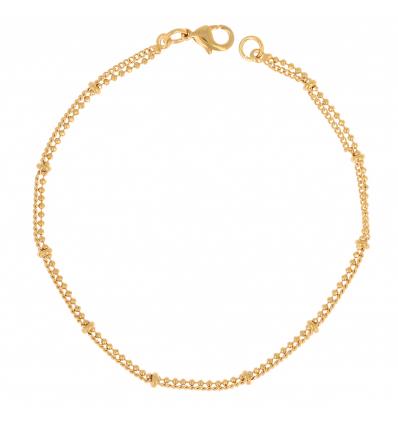 Bracelet plaqué or avec cubic zirconia 18cm