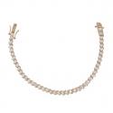 Bracelet plaqué or coeur cubic zirconia forme ronde 18,5cm